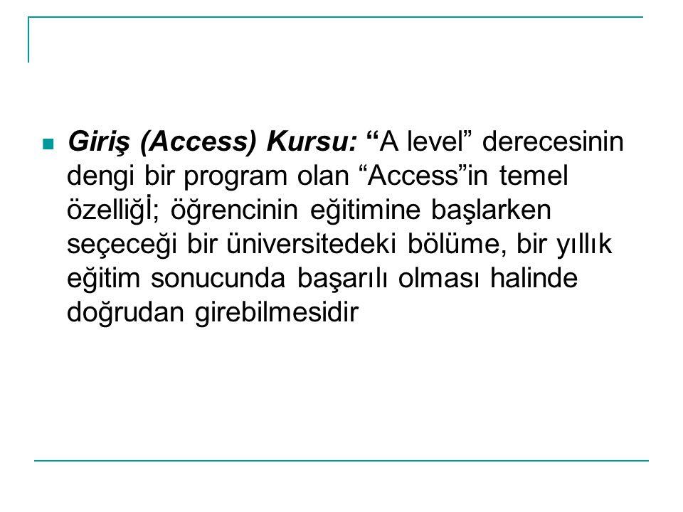 """Giriş (Access) Kursu: """"A level"""" derecesinin dengi bir program olan """"Access""""in temel özelliğİ; öğrencinin eğitimine başlarken seçeceği bir üniversitede"""