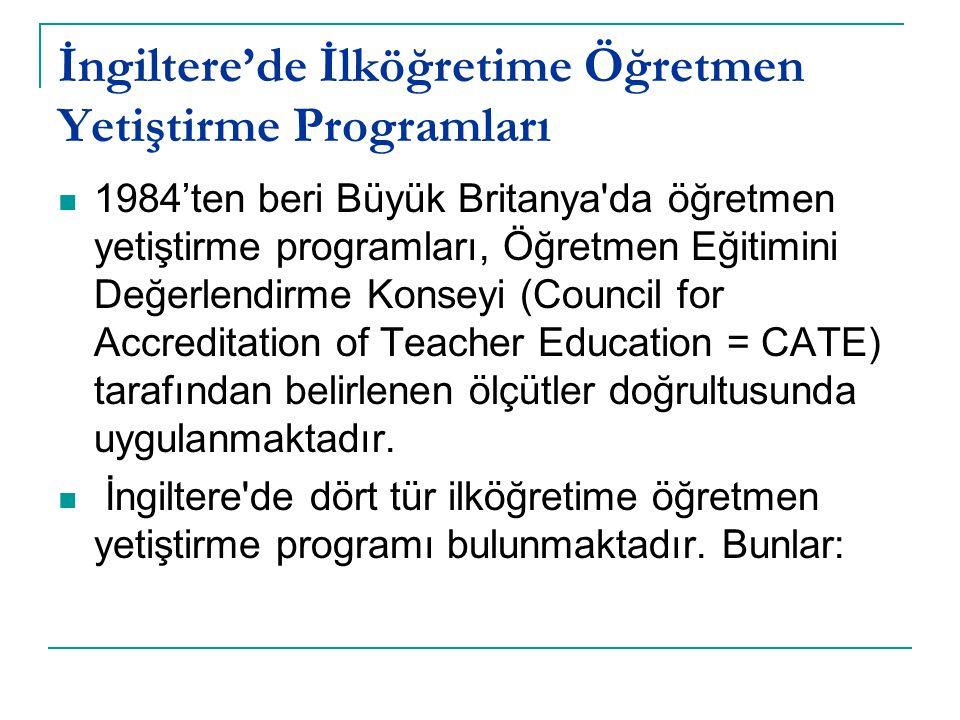 İngiltere'de İlköğretime Öğretmen Yetiştirme Programları 1984'ten beri Büyük Britanya'da öğretmen yetiştirme programları, Öğretmen Eğitimini Değerlend