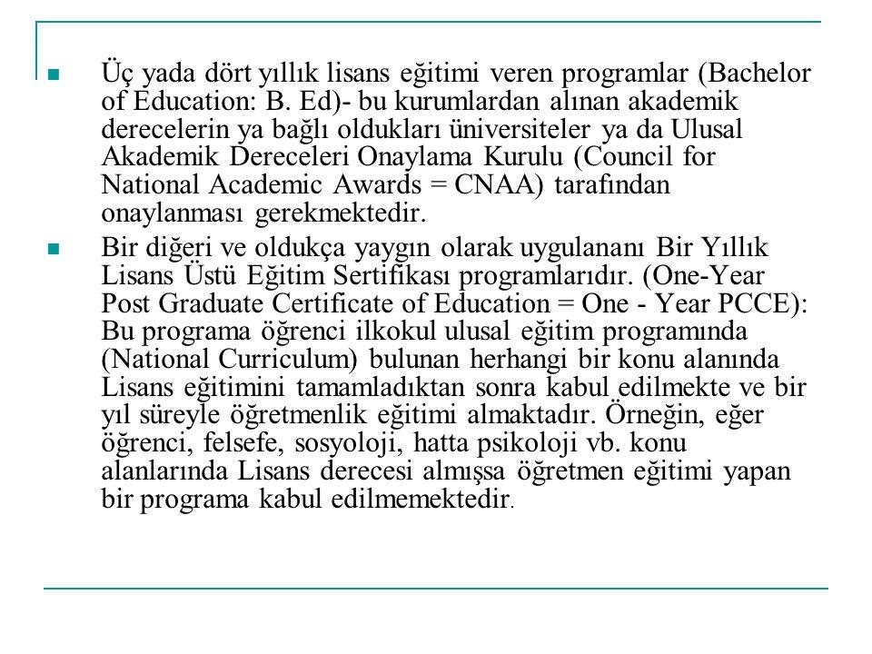 Üç yada dört yıllık lisans eğitimi veren programlar (Bachelor of Education: B. Ed)- bu kurumlardan alınan akademik derecelerin ya bağlı oldukları üniv