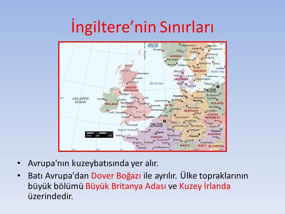 İngiltere'nin Sınırları Avrupa'nın kuzeybatısında yer alır. Batı Avrupa'dan Dover Boğazı ile ayrılır. Ülke topraklarının büyük bölümü Büyük Britanya A