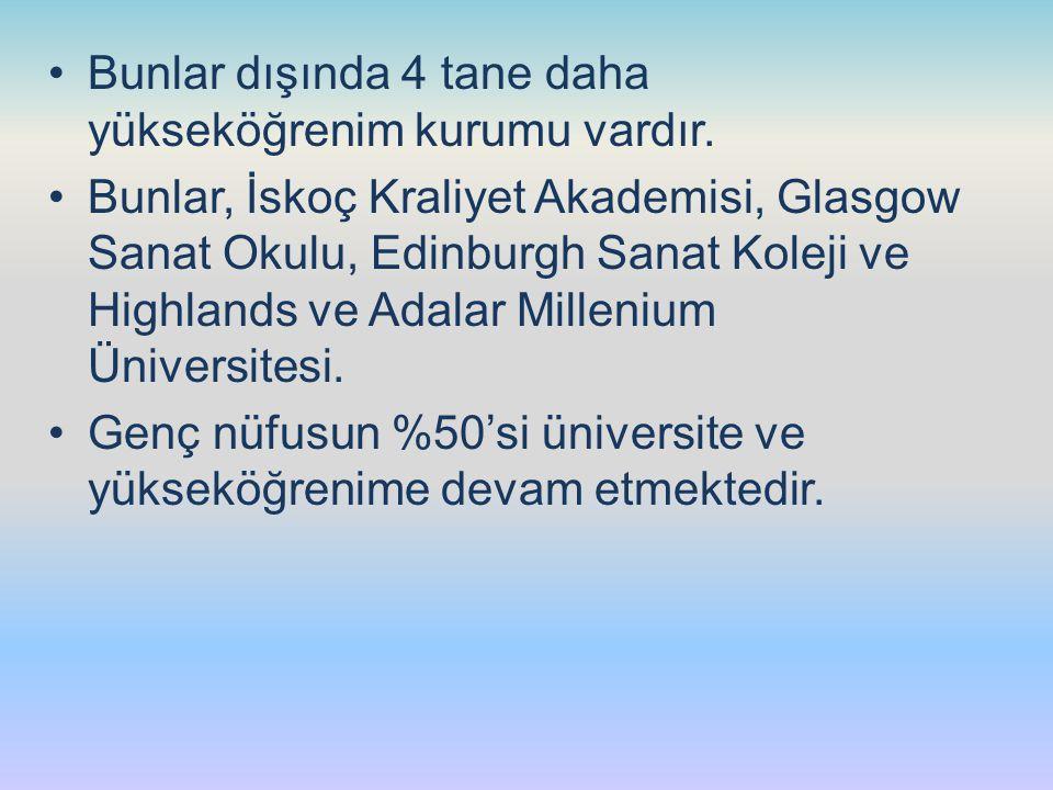Bunlar dışında 4 tane daha yükseköğrenim kurumu vardır. Bunlar, İskoç Kraliyet Akademisi, Glasgow Sanat Okulu, Edinburgh Sanat Koleji ve Highlands ve