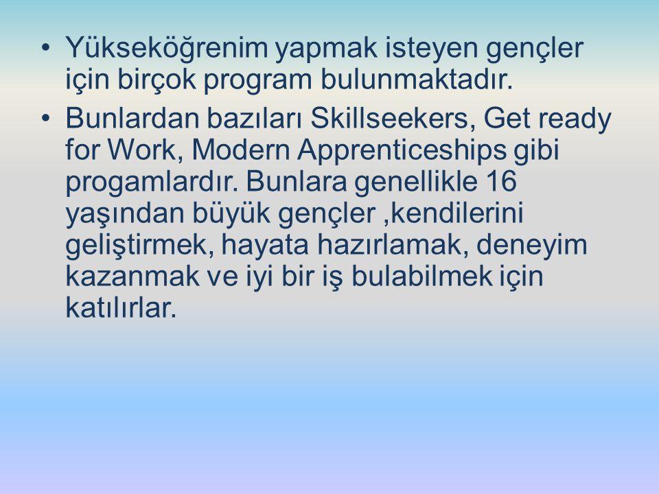 Yükseköğrenim yapmak isteyen gençler için birçok program bulunmaktadır. Bunlardan bazıları Skillseekers, Get ready for Work, Modern Apprenticeships gi