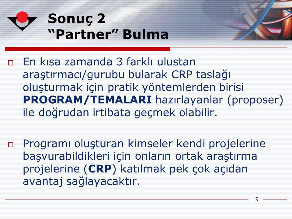 19 Sonuç 2 Partner Bulma  En kısa zamanda 3 farklı ulustan araştırmacı/gurubu bularak CRP taslağı oluşturmak için pratik yöntemlerden birisi PROGRAM/TEMALARI hazırlayanlar (proposer) ile doğrudan irtibata geçmek olabilir.