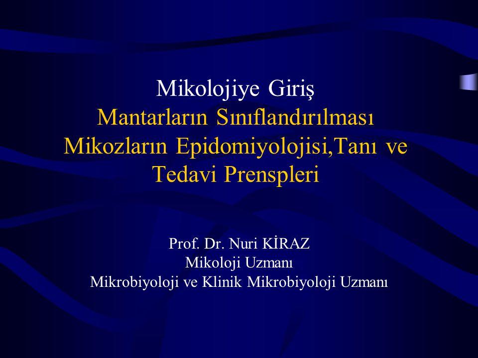 Mikolojiye Giriş Mantarların Sınıflandırılması Mikozların Epidomiyolojisi,Tanı ve Tedavi Prenspleri Prof. Dr. Nuri KİRAZ Mikoloji Uzmanı Mikrobiyoloji