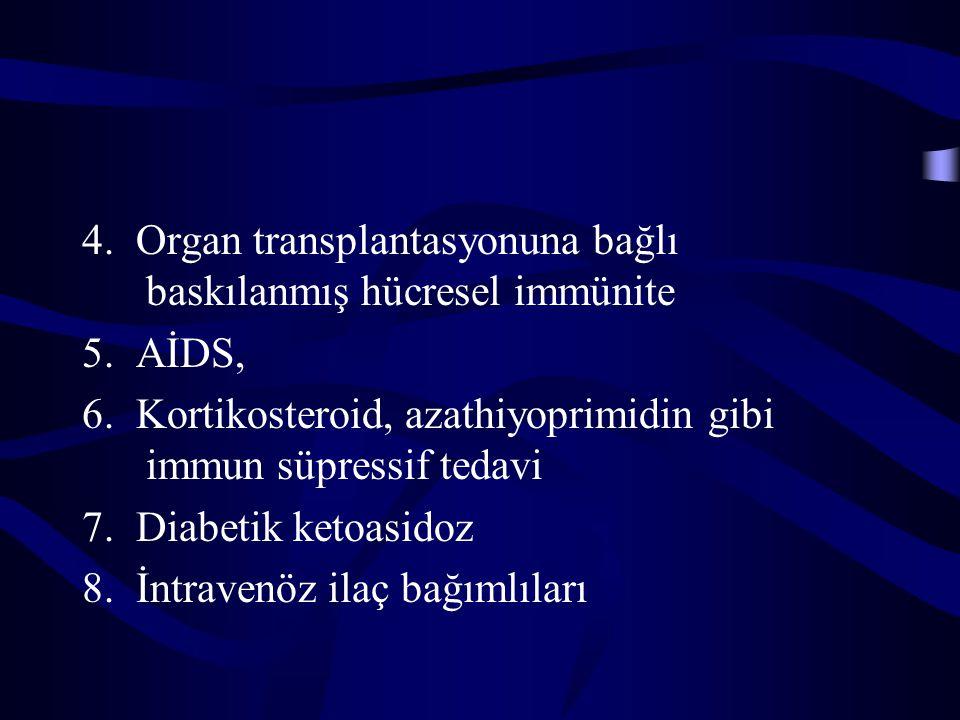4. Organ transplantasyonuna bağlı baskılanmış hücresel immünite 5. AİDS, 6. Kortikosteroid, azathiyoprimidin gibi immun süpressif tedavi 7. Diabetik k