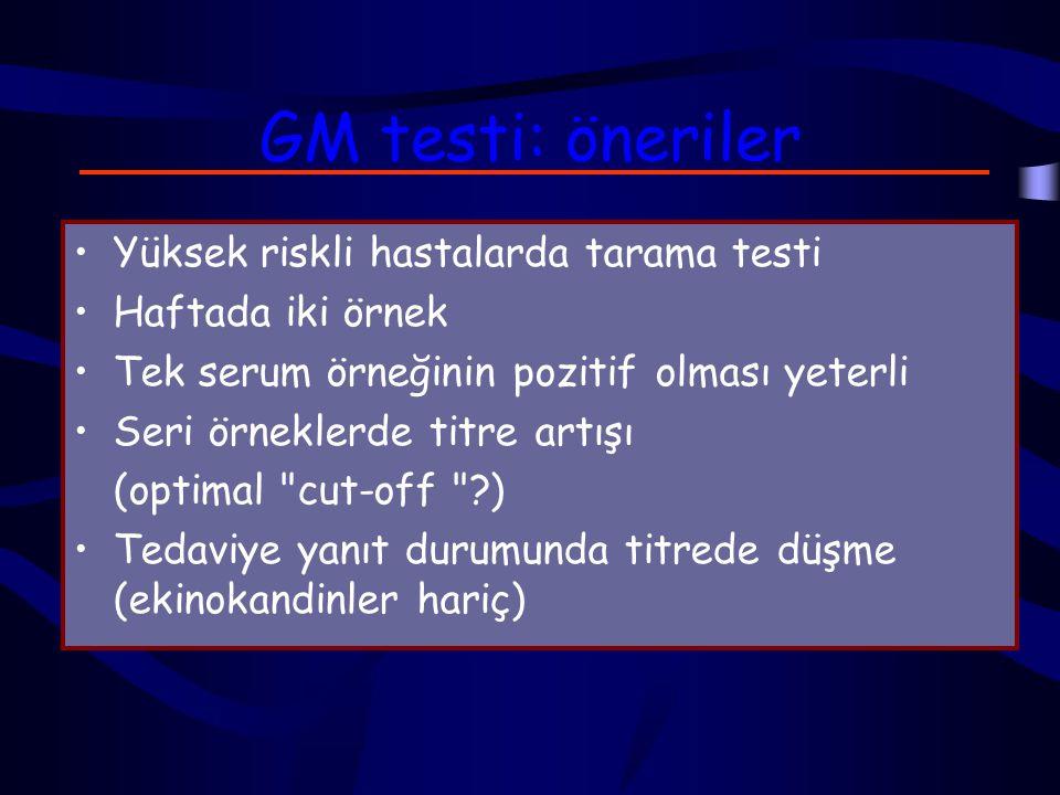 GM testi: öneriler Yüksek riskli hastalarda tarama testi Haftada iki örnek Tek serum örneğinin pozitif olması yeterli Seri örneklerde titre artışı (optimal cut-off ?) Tedaviye yanıt durumunda titrede düşme (ekinokandinler hariç)