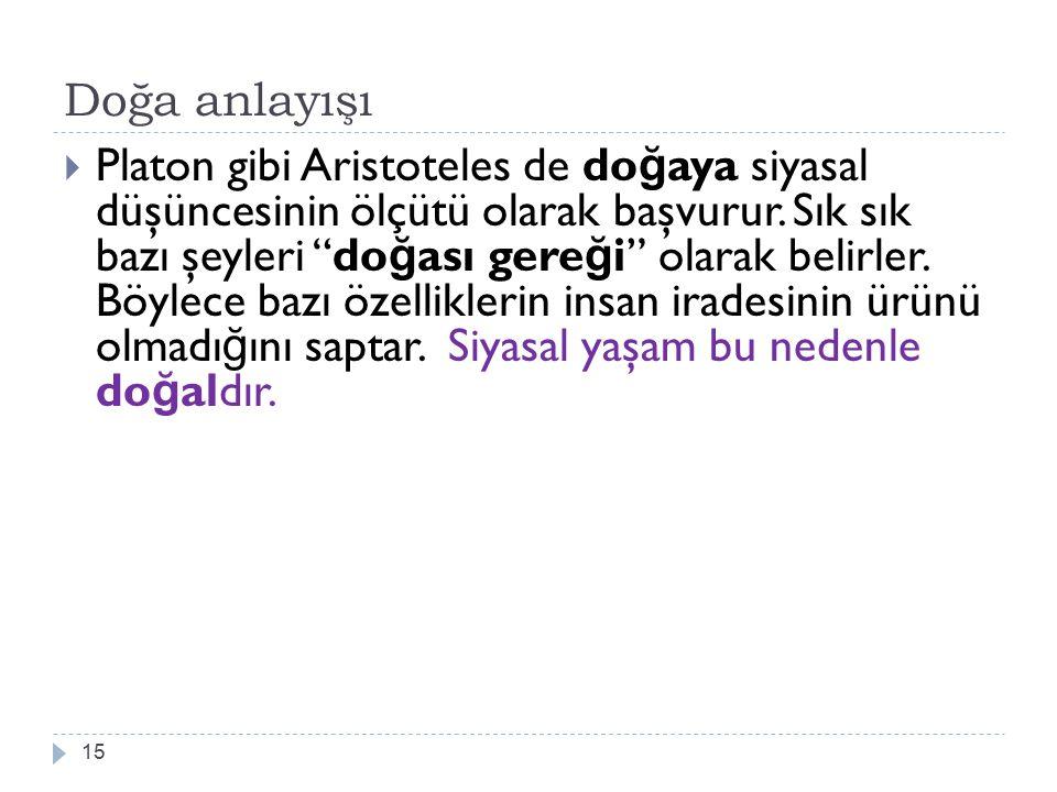 """Doğa anlayışı 15  Platon gibi Aristoteles de do ğ aya siyasal düşüncesinin ölçütü olarak başvurur. Sık sık bazı şeyleri """"do ğ ası gere ğ i"""" olarak be"""
