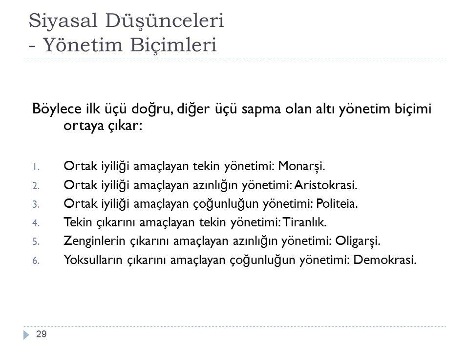 Siyasal Düşünceleri - Yönetim Biçimleri 29 Böylece ilk üçü do ğ ru, di ğ er üçü sapma olan altı yönetim biçimi ortaya çıkar: 1.