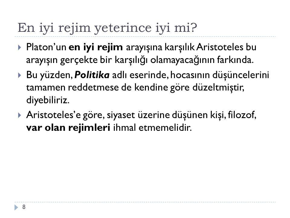 En iyi rejim yeterince iyi mi? 8  Platon'un en iyi rejim arayışına karşılık Aristoteles bu arayışın gerçekte bir karşılı ğ ı olamayaca ğ ının farkınd