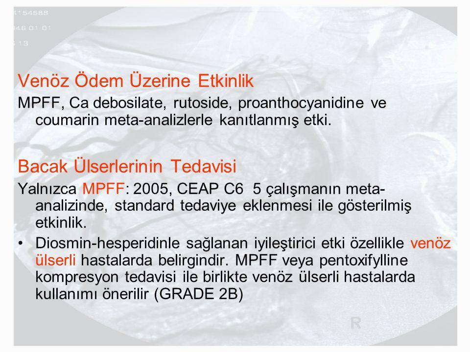 Venöz Ödem Üzerine Etkinlik MPFF, Ca debosilate, rutoside, proanthocyanidine ve coumarin meta-analizlerle kanıtlanmış etki. Bacak Ülserlerinin Tedavis