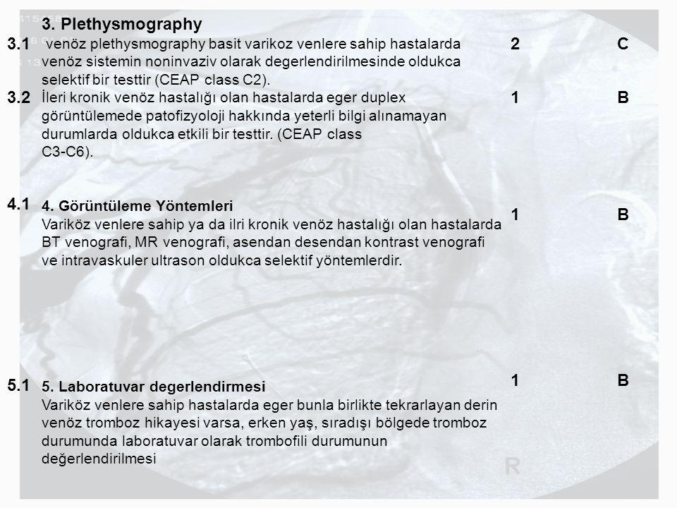 3. Plethysmography venöz plethysmography basit varikoz venlere sahip hastalarda venöz sistemin noninvaziv olarak degerlendirilmesinde oldukca selektif