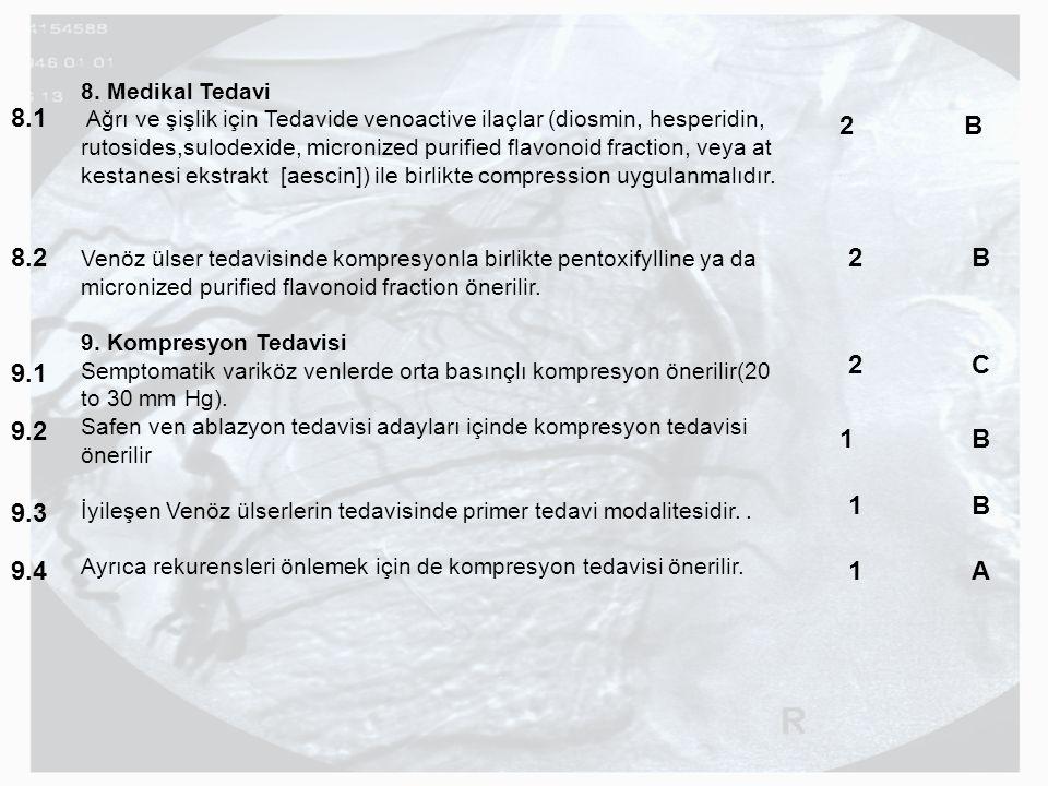8. Medikal Tedavi Ağrı ve şişlik için Tedavide venoactive ilaçlar (diosmin, hesperidin, rutosides,sulodexide, micronized purified flavonoid fraction,