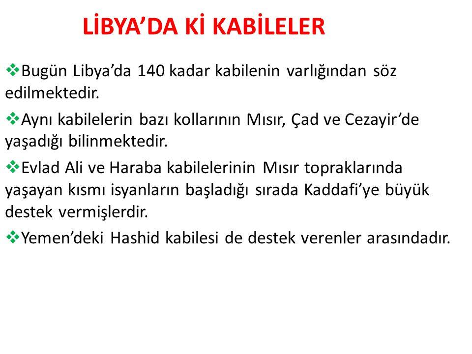 LİBYA'DA Kİ KABİLELER  Bugün Libya'da 140 kadar kabilenin varlığından söz edilmektedir.
