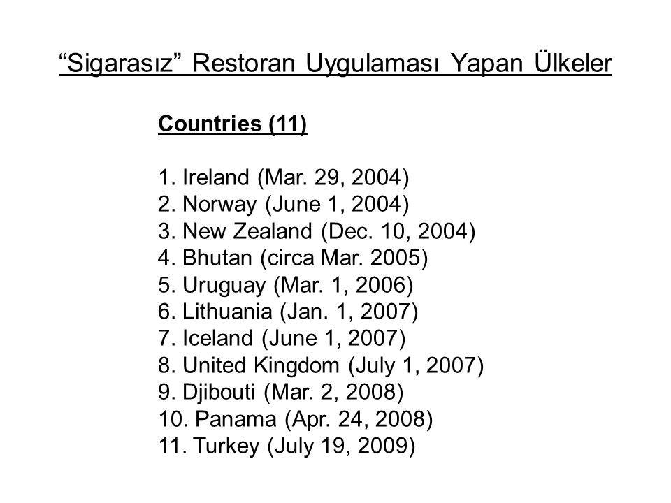"""Sigarasız"" Restoran Uygulaması Yapan Ülkeler Countries (11) 1. Ireland (Mar. 29, 2004) 2. Norway (June 1, 2004) 3. New Zealand (Dec. 10, 2004) 4. Bhu"