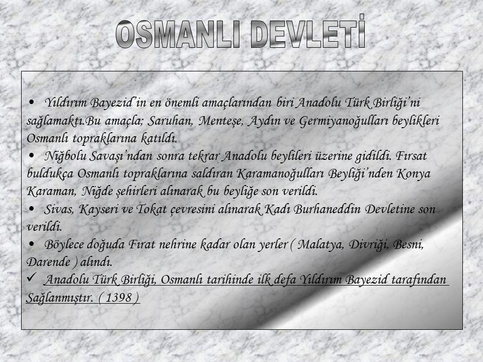 Yıldırım Bayezid'in en önemli amaçlarından biri Anadolu Türk Birliği'ni sağlamaktı.Bu amaçla; Saruhan, Menteşe, Aydın ve Germiyanoğulları beylikleri O