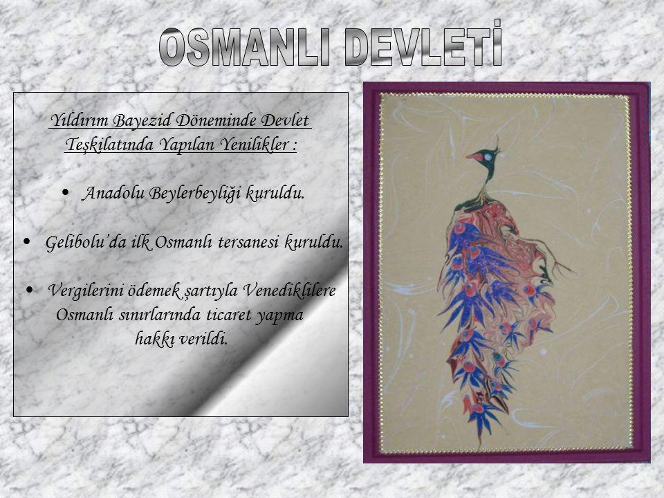 Yıldırım Bayezid Döneminde Devlet Teşkilatında Yapılan Yenilikler : Anadolu Beylerbeyliği kuruldu. Gelibolu'da ilk Osmanlı tersanesi kuruldu. Vergiler