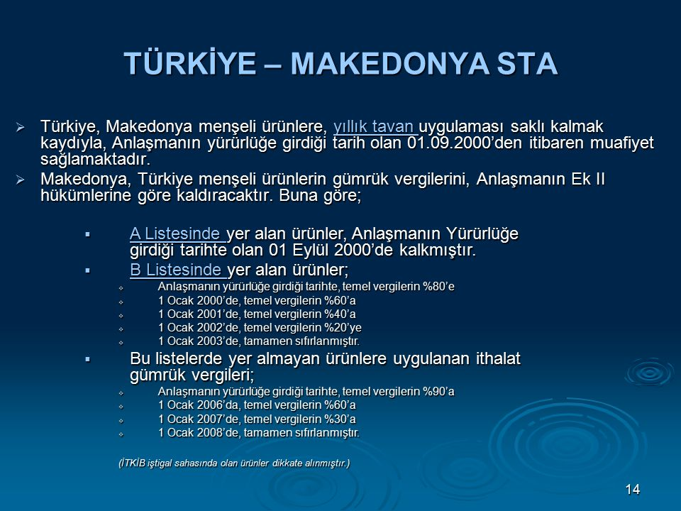 14 TÜRKİYE – MAKEDONYA STA  Türkiye, Makedonya menşeli ürünlere, yıllık tavan uygulaması saklı kalmak kaydıyla, Anlaşmanın yürürlüğe girdiği tarih olan 01.09.2000'den itibaren muafiyet sağlamaktadır.