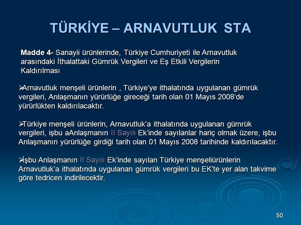 50 TÜRKİYE – ARNAVUTLUK STA Madde 4- Sanayii ürünlerinde, Türkiye Cumhuriyeti ile Arnavutluk arasındaki İthalattaki Gümrük Vergileri ve Eş Etkili Vergilerin Kaldırılması  Arnavutluk menşeli ürünlerin, Türkiye'ye ithalatında uygulanan gümrük vergileri, Anlaşmanın yürürlüğe gireceği tarih olan 01 Mayıs 2008'de yürürlükten kaldırılacaktır.