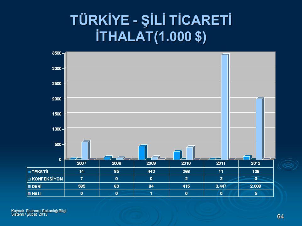64 TÜRKİYE - ŞİLİ TİCARETİ İTHALAT(1.000 $) Kaynak: Ekonomi Bakanlığı Bilgi Sistemi / Şubat 2013