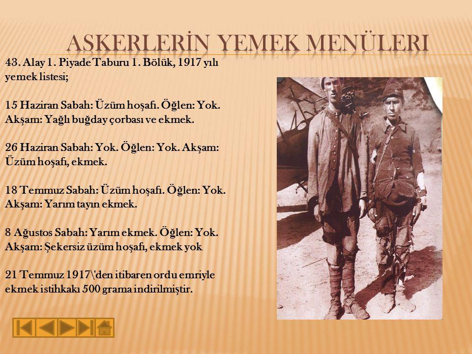 43.Alay 1. Piyade Taburu 1. Bölük, 1917 yılı yemek listesi; 15 Haziran Sabah: Üzüm ho ş afı.