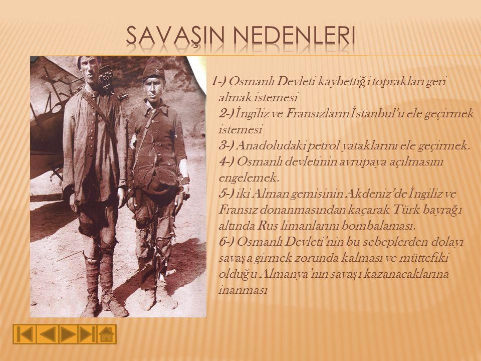 1-) Osmanlı Devleti kaybetti ğ i toprakları geri almak istemesi 2-) İ ngiliz ve Fransızların İ stanbul'u ele geçirmek istemesi 3-) Anadoludaki petrol yataklarını ele geçirmek.