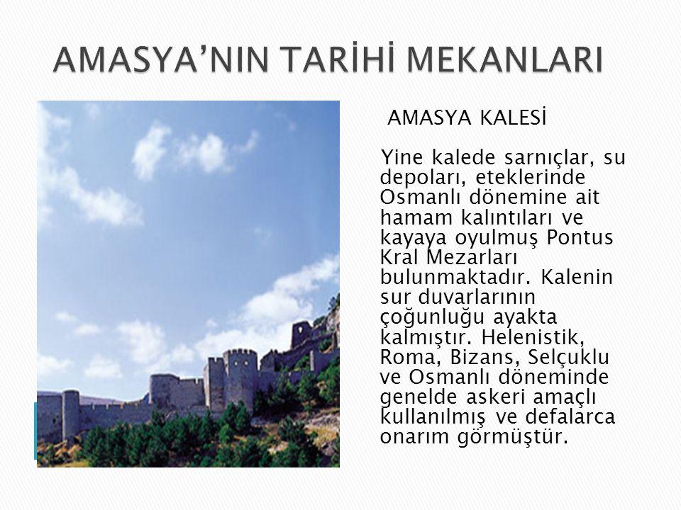 AMASYA KALESİ Yine kalede sarnıçlar, su depoları, eteklerinde Osmanlı dönemine ait hamam kalıntıları ve kayaya oyulmuş Pontus Kral Mezarları bulunmaktadır.