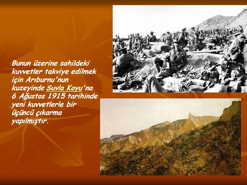 Bunun üzerine sahildeki kuvvetler takviye edilmek için Arıburnu'nun kuzeyinde Suvla Koyu'na 6 Ağustos 1915 tarihinde yeni kuvvetlerle bir üçüncü çıkar