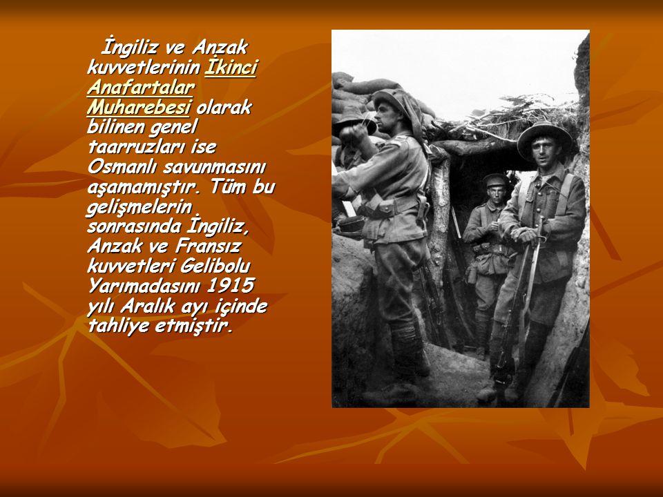 İngiliz ve Anzak kuvvetlerinin İkinci Anafartalar Muharebesi olarak bilinen genel taarruzları ise Osmanlı savunmasını aşamamıştır. Tüm bu gelişmelerin