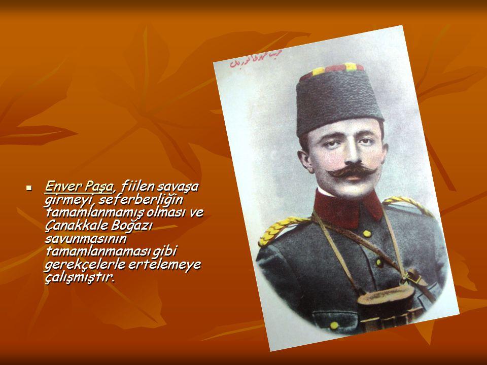 Enver Paşa, fiilen savaşa girmeyi, seferberliğin tamamlanmamış olması ve Çanakkale Boğazı savunmasının tamamlanmaması gibi gerekçelerle ertelemeye çal