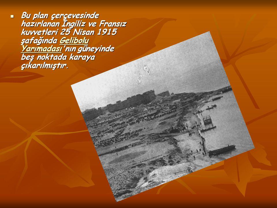 Bu plan çerçevesinde hazırlanan İngiliz ve Fransız kuvvetleri 25 Nisan 1915 şafağında Gelibolu Yarımadası'nın güneyinde beş noktada karaya çıkarılmışt