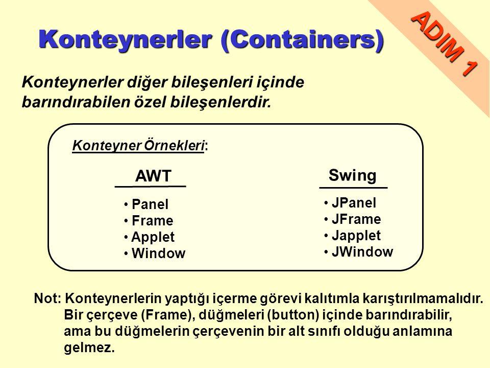 Konteynerler (Containers) Konteynerler (Containers) Konteynerler diğer bileşenleri içinde barındırabilen özel bileşenlerdir.
