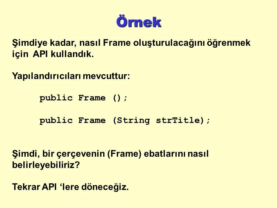 Örnek Şimdiye kadar, nasıl Frame oluşturulacağını öğrenmek için API kullandık.