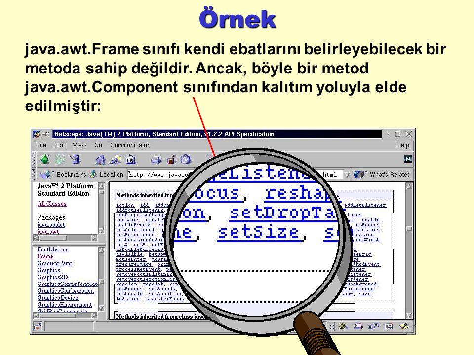 Örnek java.awt.Frame sınıfı kendi ebatlarını belirleyebilecek bir metoda sahip değildir.