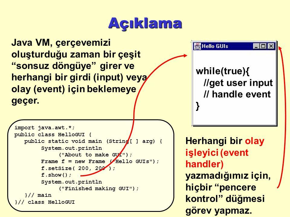 Açıklama Java VM, çerçevemizi oluşturduğu zaman bir çeşit sonsuz döngüye girer ve herhangi bir girdi (input) veya olay (event) için beklemeye geçer.