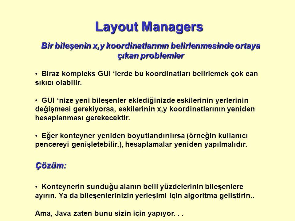 Layout Managers Bir bileşenin x,y koordinatlarının belirlenmesinde ortaya çıkan problemler Biraz kompleks GUI 'lerde bu koordinatları belirlemek çok can sıkıcı olabilir.