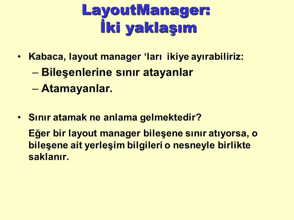 LayoutManager: İki yaklaşım Kabaca, layout manager 'ları ikiye ayırabiliriz: –Bileşenlerine sınır atayanlar –Atamayanlar.