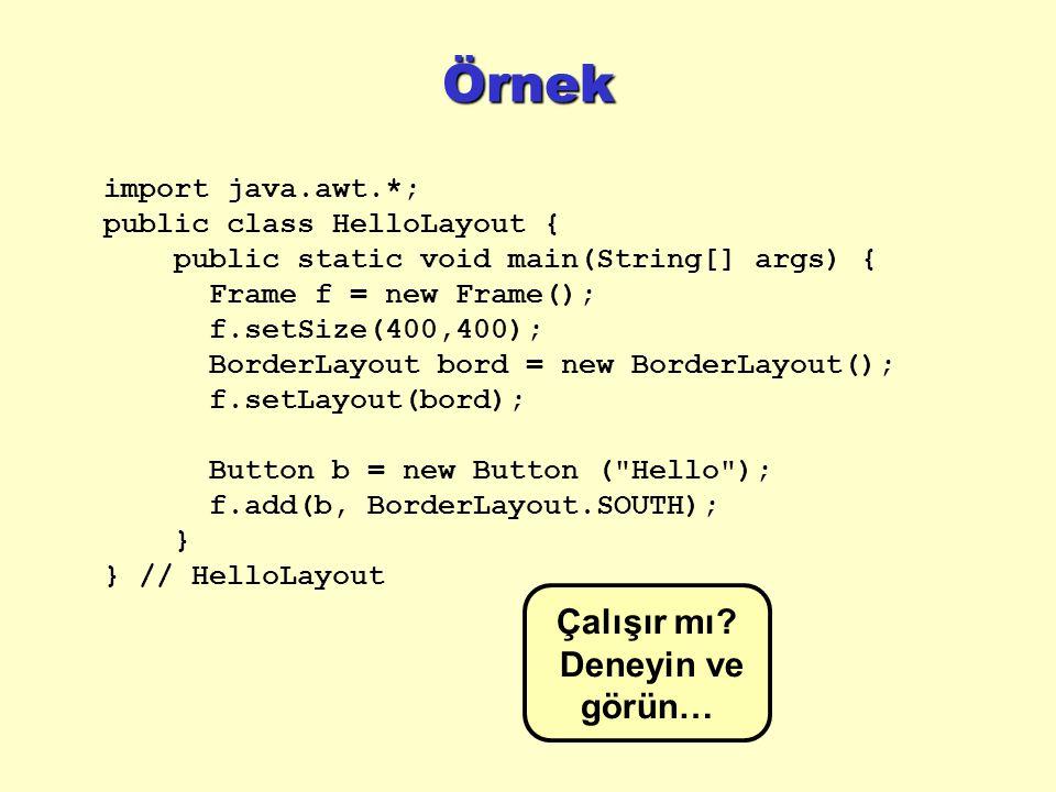 Örnek import java.awt.*; public class HelloLayout { public static void main(String[] args) { Frame f = new Frame(); f.setSize(400,400); BorderLayout bord = new BorderLayout(); f.setLayout(bord); Button b = new Button ( Hello ); f.add(b, BorderLayout.SOUTH); } } // HelloLayout Çalışır mı.