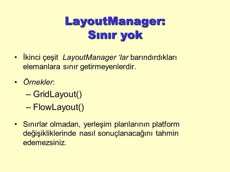 LayoutManager: Sınır yok İkinci çeşit LayoutManager 'lar barındırdıkları elemanlara sınır getirmeyenlerdir.