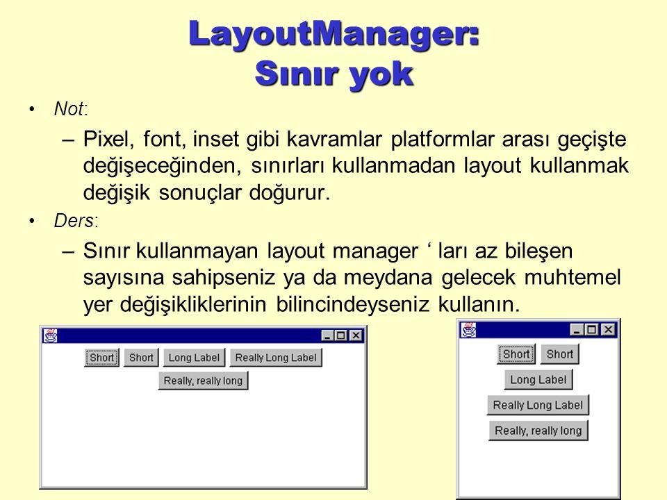 LayoutManager: Sınır yok Not: –Pixel, font, inset gibi kavramlar platformlar arası geçişte değişeceğinden, sınırları kullanmadan layout kullanmak değişik sonuçlar doğurur.