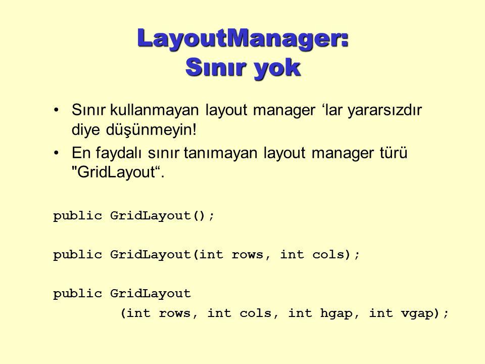 LayoutManager: Sınır yok Sınır kullanmayan layout manager 'lar yararsızdır diye düşünmeyin.