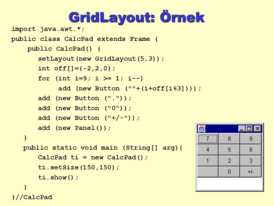 GridLayout: Örnek import java.awt.*; public class CalcPad extends Frame { public CalcPad() { setLayout(new GridLayout(5,3)); int off[]={-2,2,0}; for (int i=9; i >= 1; i--) add (new Button ( +(i+off[i%3]))); add (new Button ( . )); add (new Button ( 0 )); add (new Button ( +/- )); add (new Panel()); } public static void main (String[] arg){ CalcPad ti = new CalcPad(); ti.setSize(150,150); ti.show(); } }//CalcPad