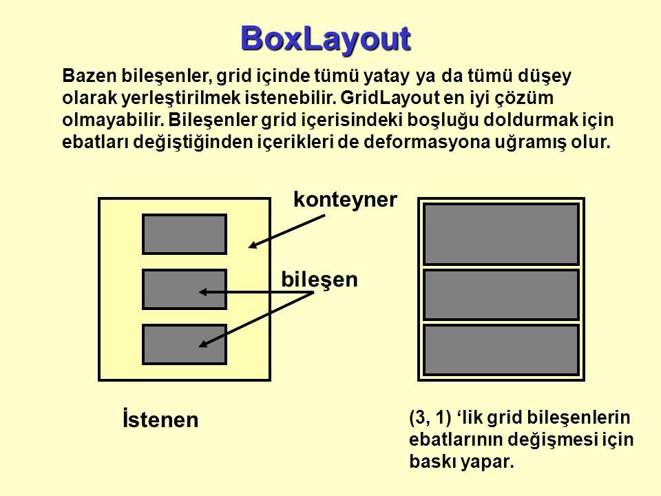 Bazen bileşenler, grid içinde tümü yatay ya da tümü düşey olarak yerleştirilmek istenebilir.