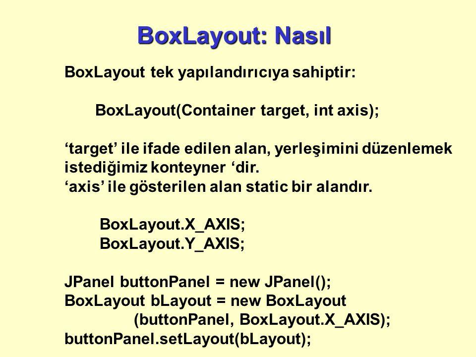BoxLayout: Nasıl BoxLayout tek yapılandırıcıya sahiptir: BoxLayout(Container target, int axis); 'target' ile ifade edilen alan, yerleşimini düzenlemek istediğimiz konteyner 'dir.