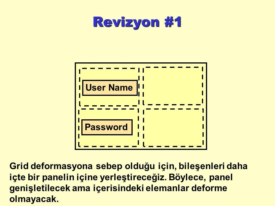 Revizyon #1 User Name Password Grid deformasyona sebep olduğu için, bileşenleri daha içte bir panelin içine yerleştireceğiz.