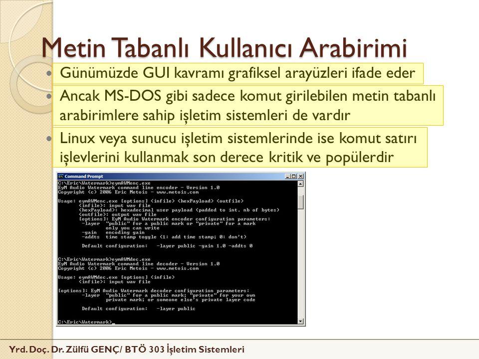 Yrd. Doç. Dr. Zülfü GENÇ/ BTÖ 303 İ şletim Sistemleri Metin Tabanlı Kullanıcı Arabirimi Günümüzde GUI kavramı grafiksel arayüzleri ifade eder Ancak MS