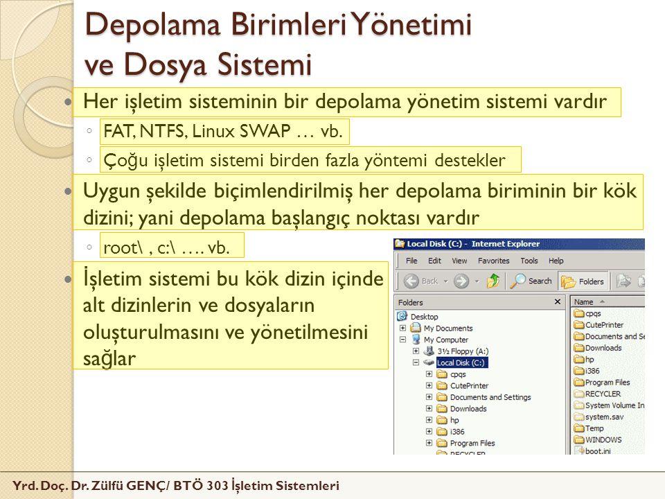 Yrd. Doç. Dr. Zülfü GENÇ/ BTÖ 303 İ şletim Sistemleri Depolama Birimleri Yönetimi ve Dosya Sistemi Her işletim sisteminin bir depolama yönetim sistemi
