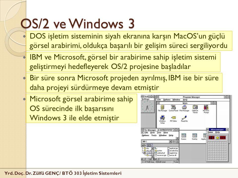 Yrd. Doç. Dr. Zülfü GENÇ/ BTÖ 303 İ şletim Sistemleri OS/2 ve Windows 3 DOS işletim sisteminin siyah ekranına karşın MacOS'un güçlü görsel arabirimi,