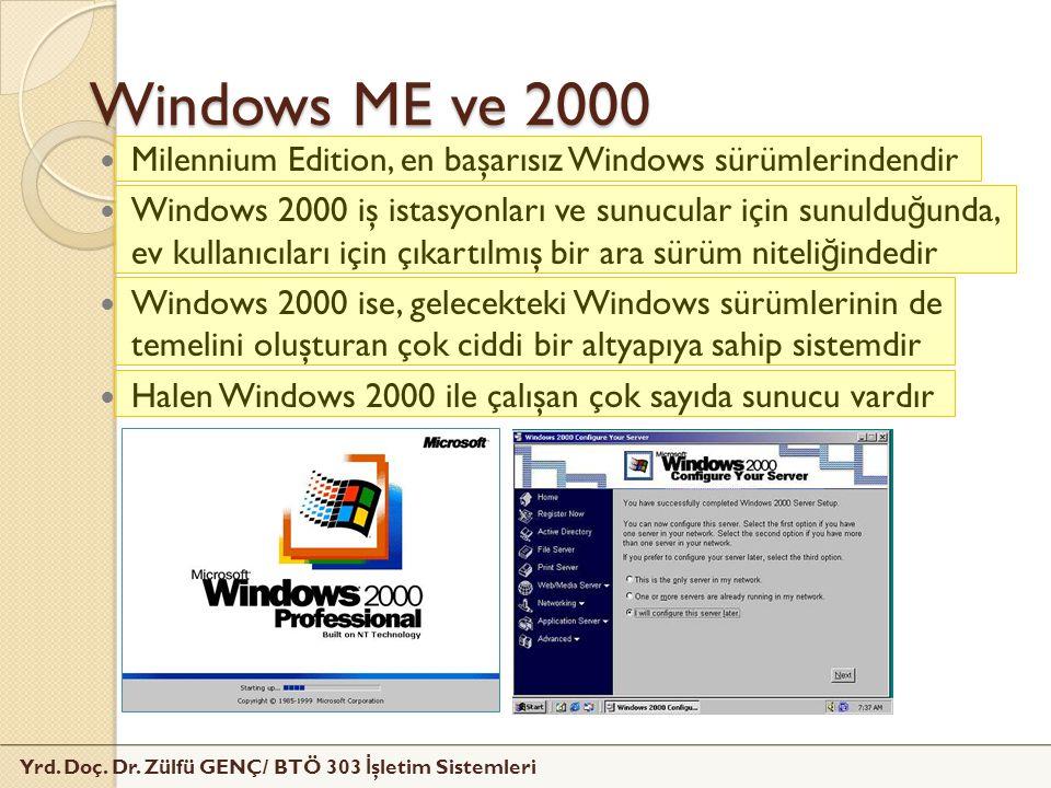 Yrd. Doç. Dr. Zülfü GENÇ/ BTÖ 303 İ şletim Sistemleri Windows ME ve 2000 Milennium Edition, en başarısız Windows sürümlerindendir Windows 2000 iş ista