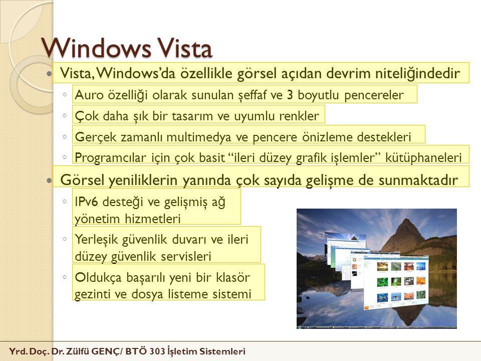 Yrd. Doç. Dr. Zülfü GENÇ/ BTÖ 303 İ şletim Sistemleri Windows Vista Vista, Windows'da özellikle görsel açıdan devrim niteli ğ indedir ◦ Auro özelli ğ