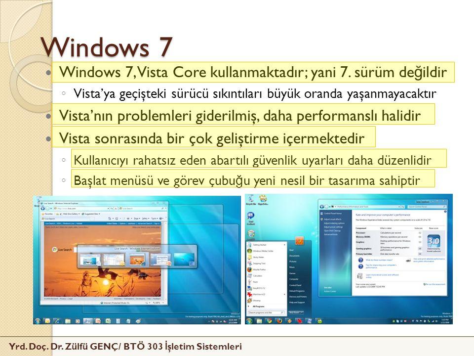 Yrd. Doç. Dr. Zülfü GENÇ/ BTÖ 303 İ şletim Sistemleri Windows 7 Windows 7, Vista Core kullanmaktadır; yani 7. sürüm de ğ ildir ◦ Vista'ya geçişteki sü